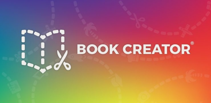 Book Creator logo with a dotted line book being cut out with a pair of scissors with the text Book Creator alongside