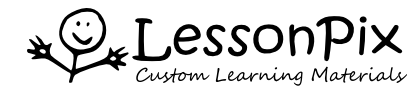Logo for Lesson Pix Custom Learning Materials with stick figure smiling